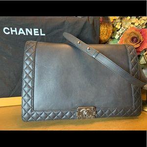 Authentic Chanel Reverso Boy Black lamb